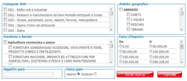Ricerche di gare d'appalto in tutta Italia